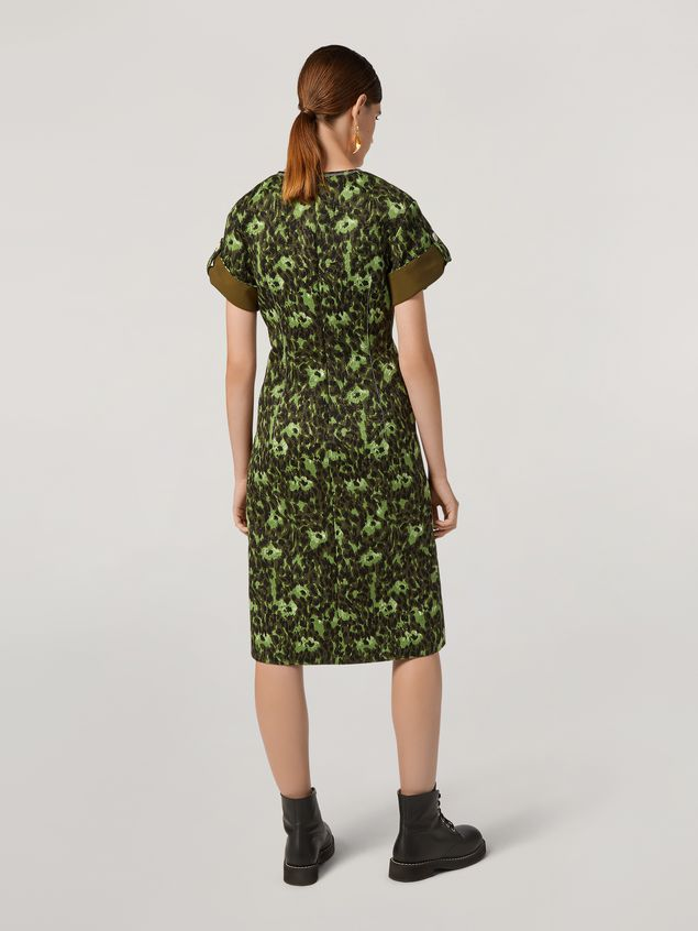 Marni Dress in cotton jacquard Wild print with sleeve turn-ups  Woman