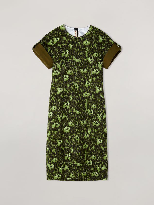 Marni Dress in cotton jacquard Wild print with sleeve turn-ups  Woman - 2