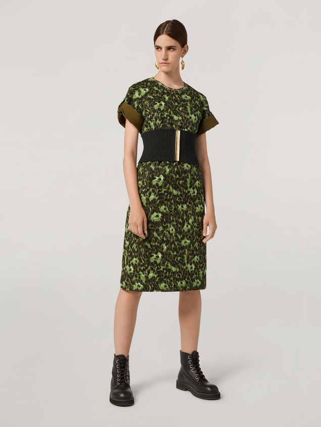 Marni Dress in cotton jacquard Wild print with sleeve turn-ups  Woman - 1