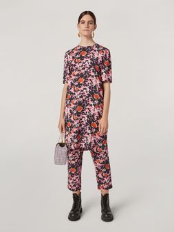 Marni Tunic in viscose sablé Buds print with side buttoning Woman