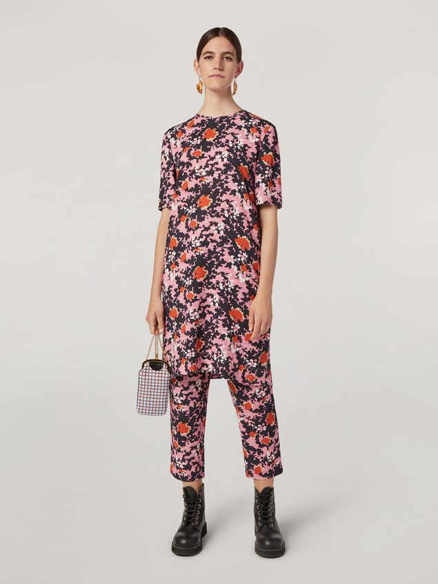 Marni Tunic in viscose sablé Buds print with side buttoning Woman - 1