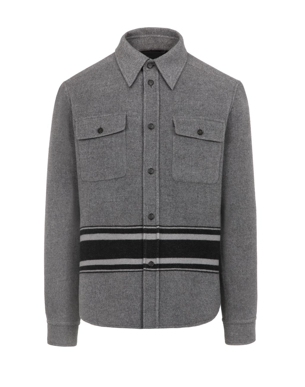 BRIONI Grey Overshirt Outerwear Man f