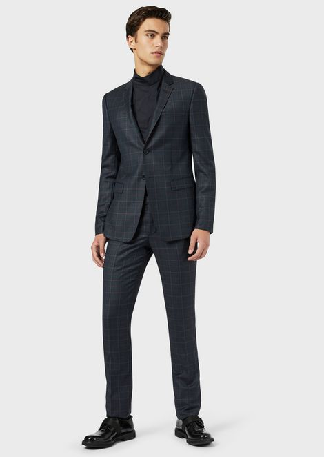 Single-breasted suit in melange wool with contrast checks