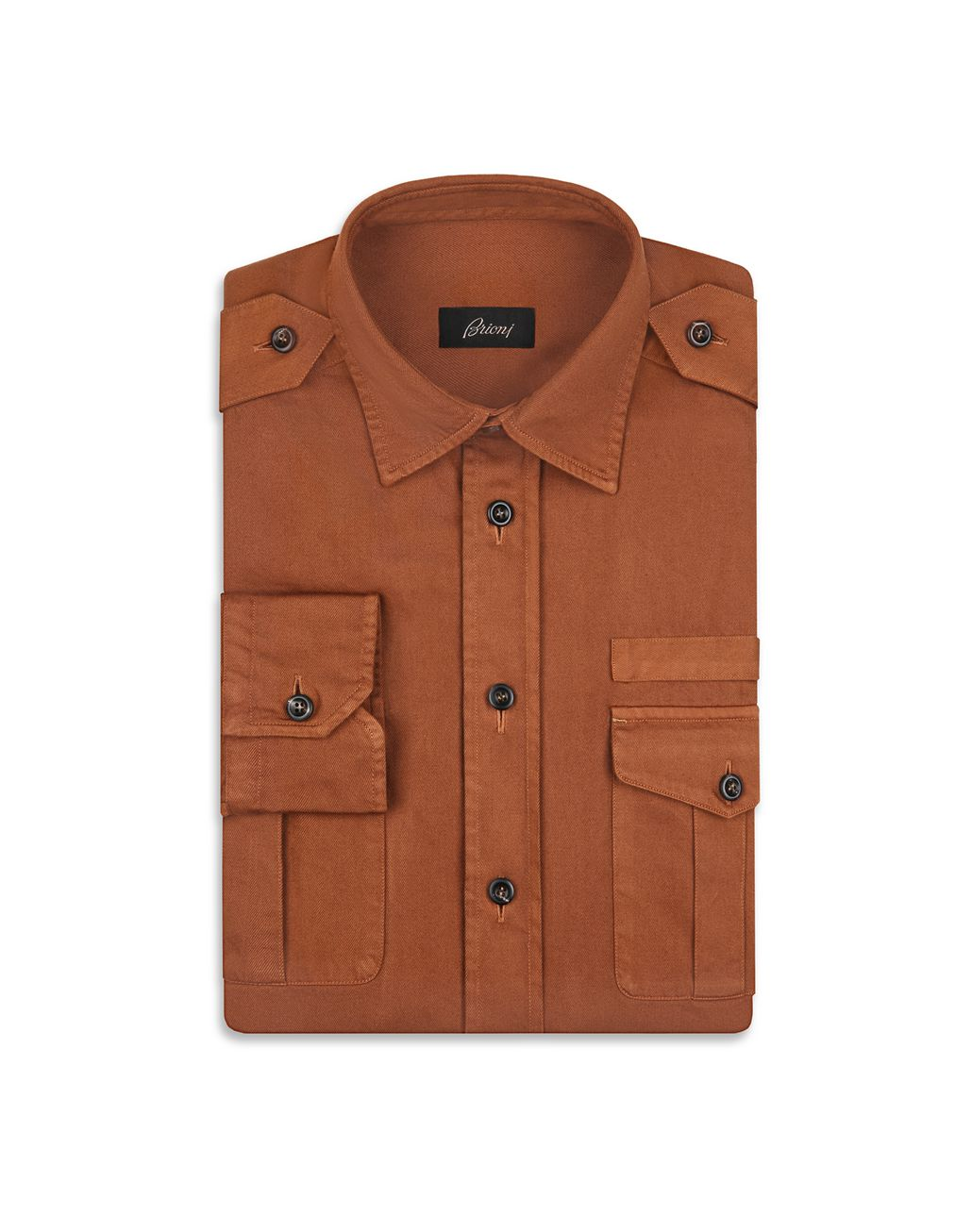 BRIONI Brown Military Shirt Shirt Man f