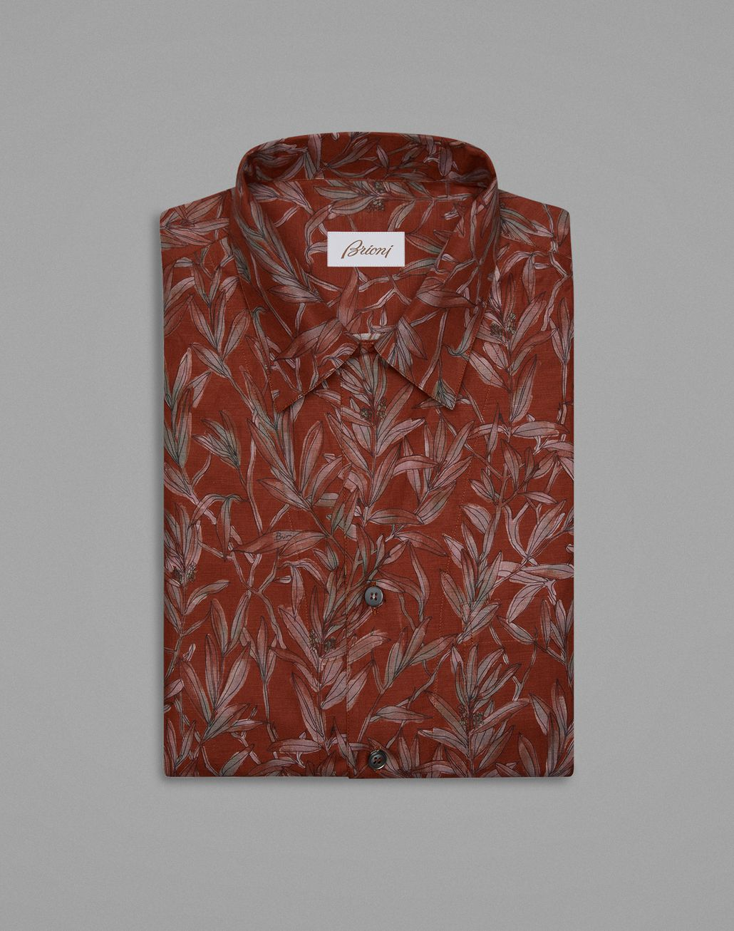 BRIONI Brown Hawaiian Shirt Leisure shirt Man f
