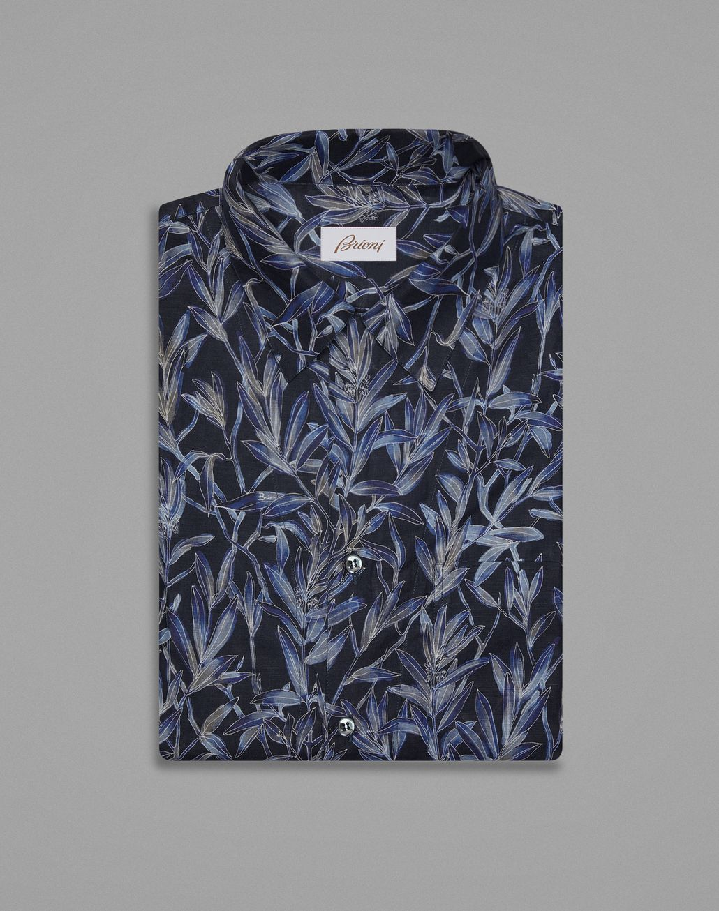BRIONI Navy Blue Hawaiian Shirt Leisure shirt Man f