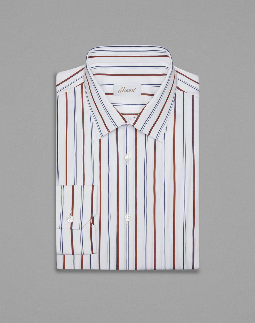 BRIONI White And Bordeaux Formal Shirt Formal shirt Man f