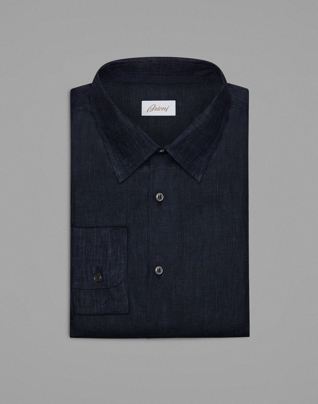 BRIONI Тёмно-синяя льняная рубашка Повседневная рубашка Для Мужчин f