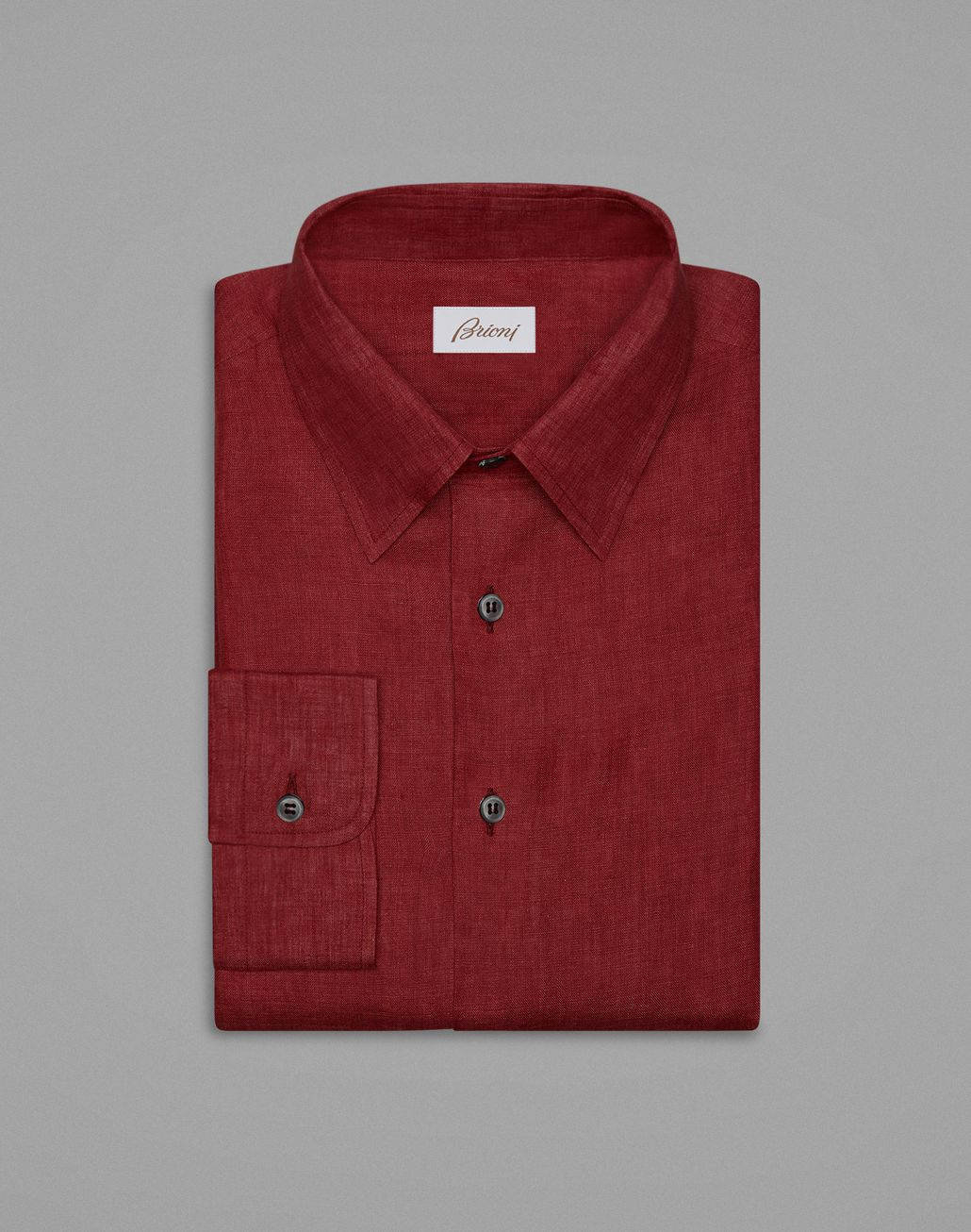 BRIONI Red Linen Shirt Leisure shirt Man f