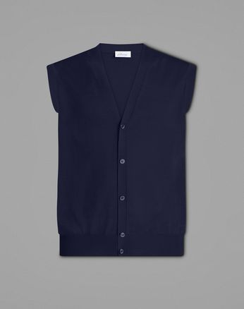 Navy Sleeveless Cardigan