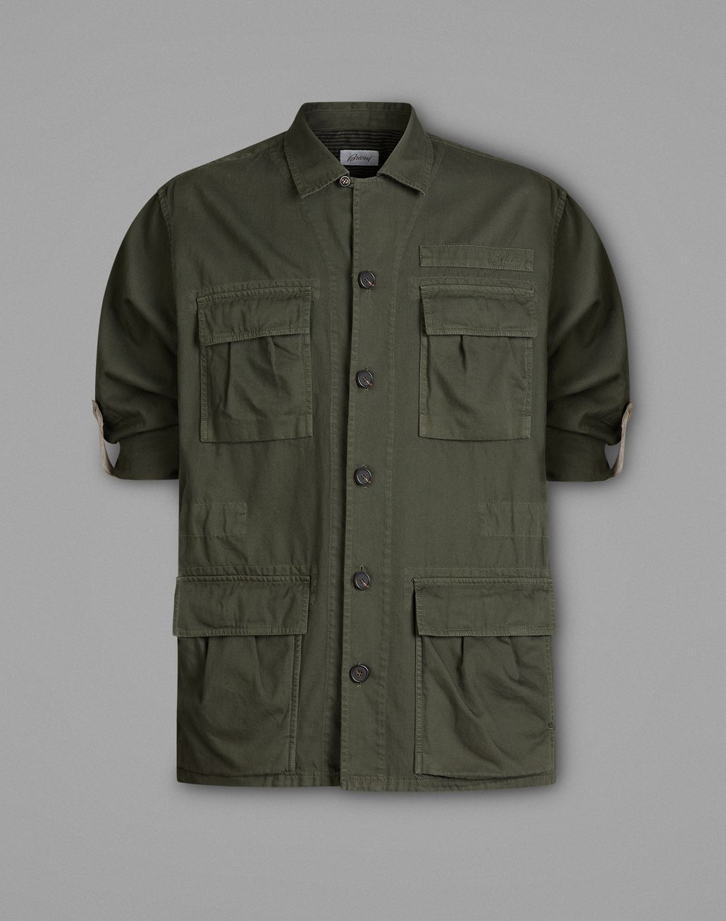 BRIONI Dark Green Safari Jacket Coats & Raincoats Man f