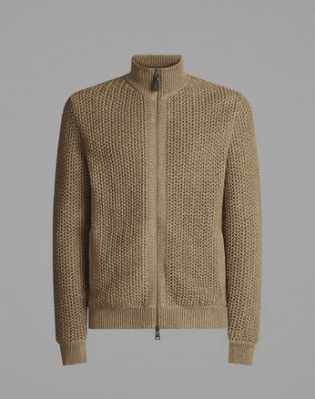 Beige Full-Zipper Sweater