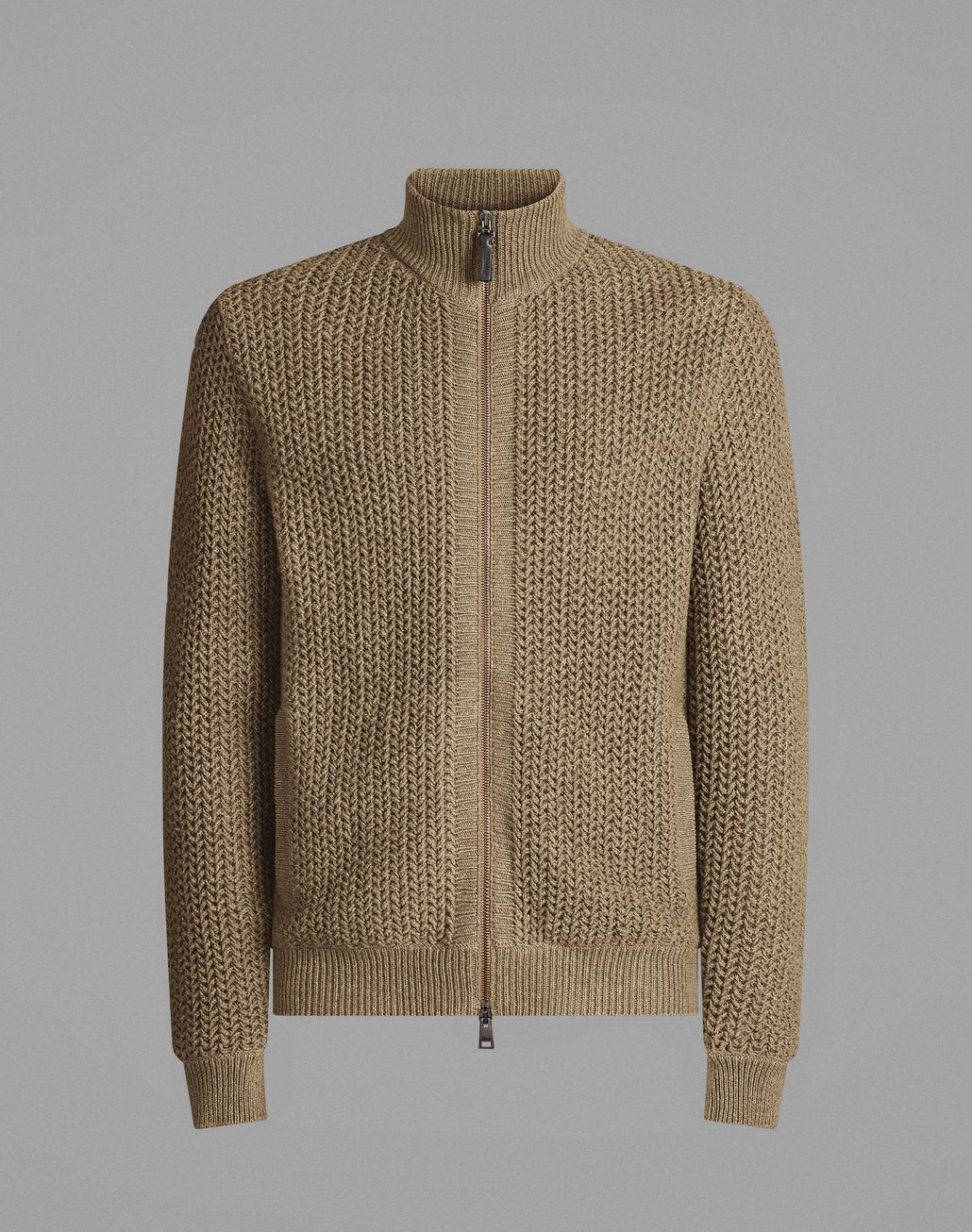 BRIONI Beige Full-Zipper Sweater Knitwear Man f