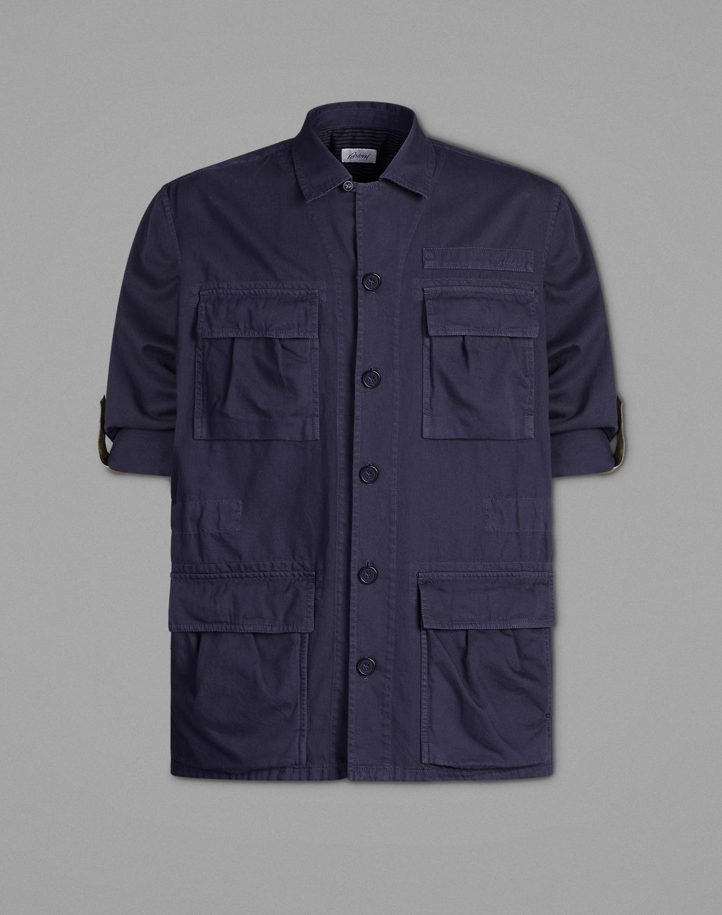 BRIONI Navy Blue Safari Jacket Coats & Raincoats Man f