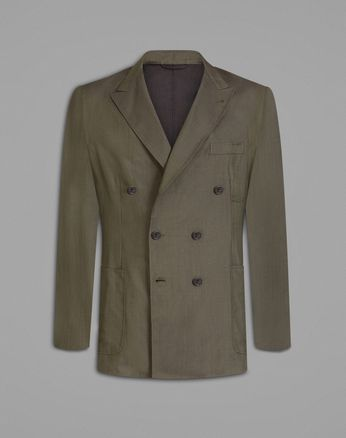 'Leggera' Dark Green Double-Breasted Jacket