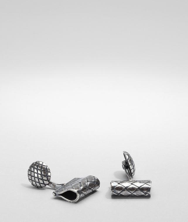 BOTTEGA VENETA Intrecciato Oxydized Silver Cufflink Cufflinks U fp