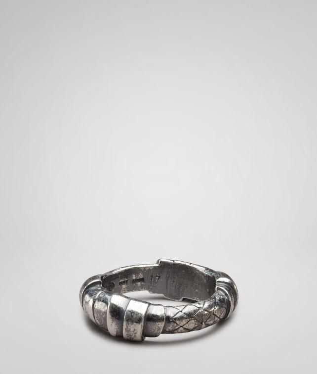 BOTTEGA VENETA Intrecciato Oxydized Silver Ring Necklace and Ring U fp