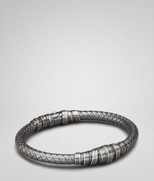 shop bracelet intrecciato to silver leather veneta woven black bottega men original and where
