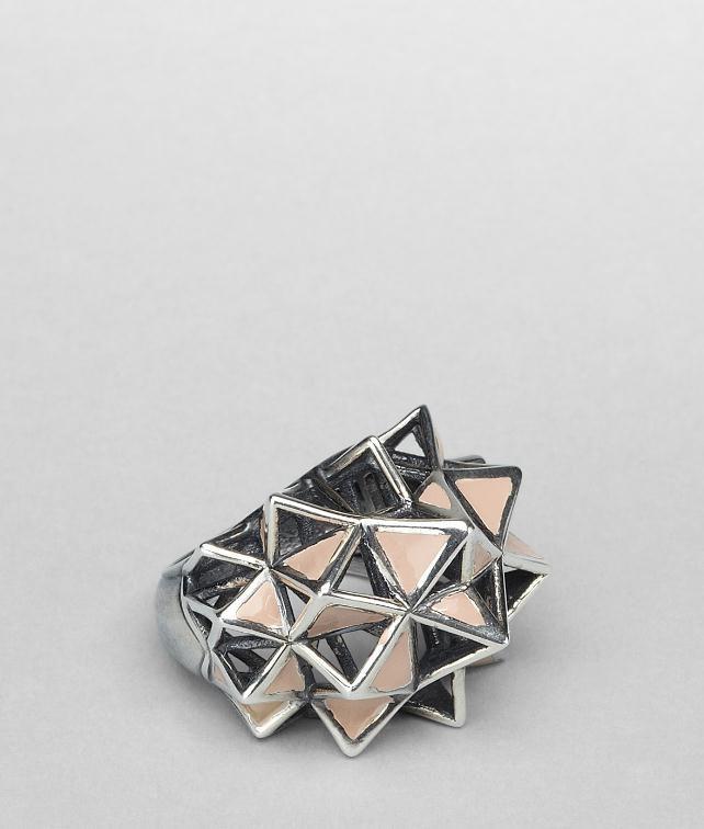 BOTTEGA VENETA Enamelled Antique Silver Ring Necklace and Ring D fp