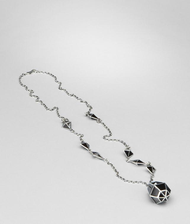 BOTTEGA VENETA Nero enamelled Antique Silver Pendant Necklace D fp