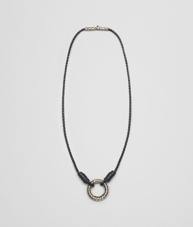BOTTEGA VENETA PENDANT IN NERO INTRECCIATO NAPPA AND SILVER Necklace and Ring U fp