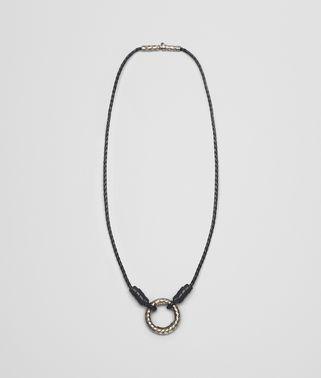 黑色编织小羊皮和银质吊坠
