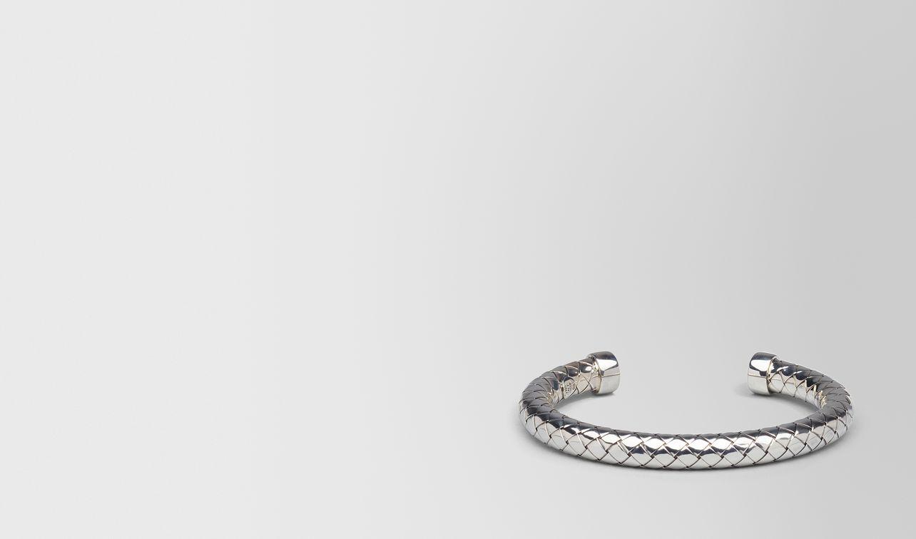 Bottega Veneta Intrecciato-embossed silver bracelet qdihl9MtgO