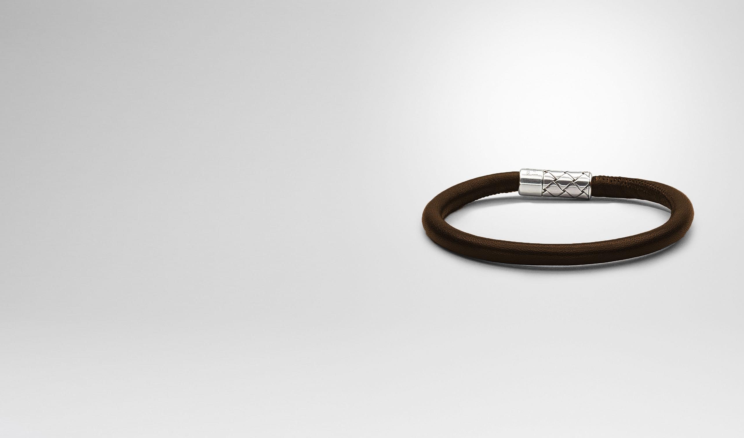 BOTTEGA VENETA Bracelet U Ebano Intrecciato Antique Silver Nappa Bracelet pl