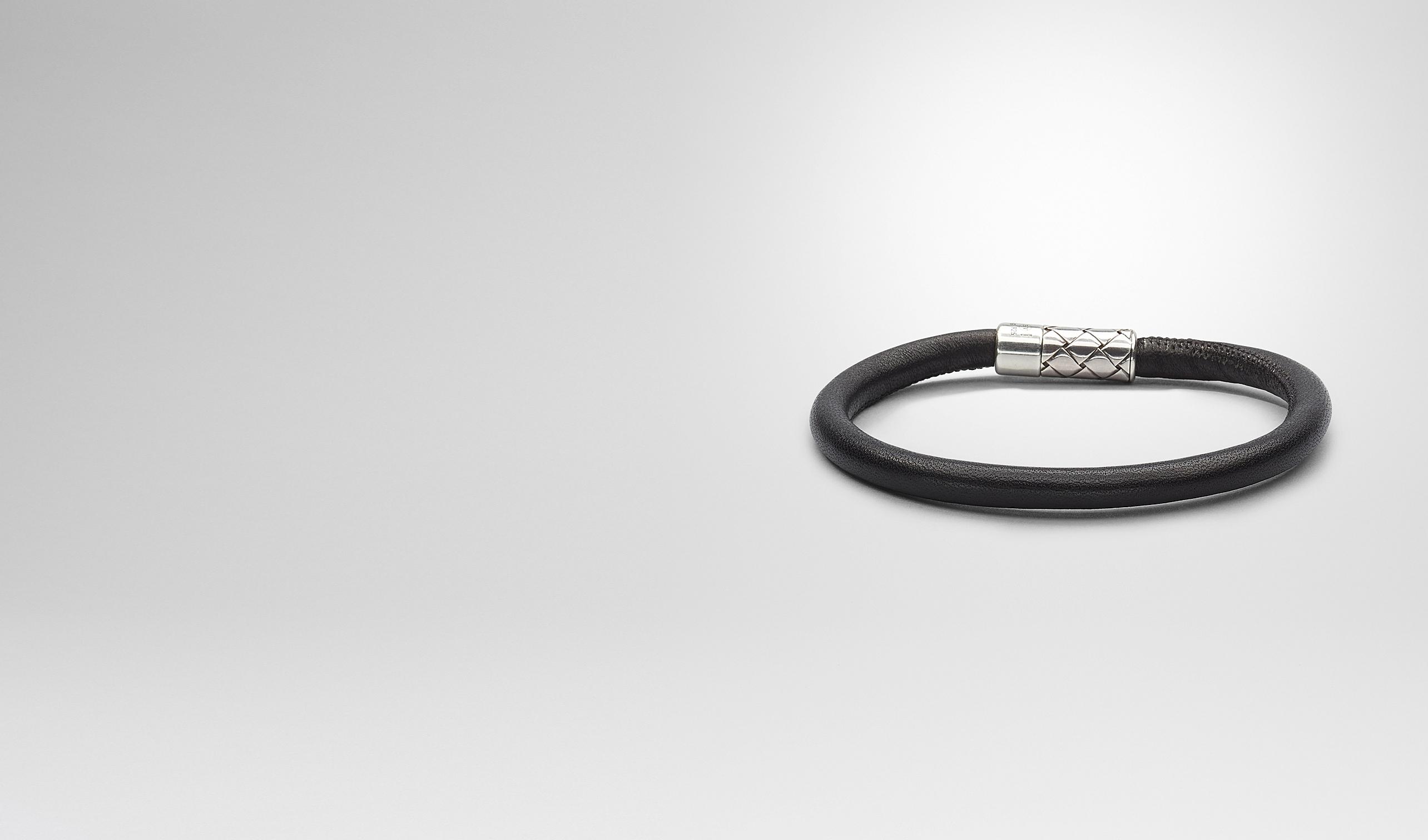 BOTTEGA VENETA Bracelet U Nero Intrecciato Antique Silver Nappa Bracelet pl