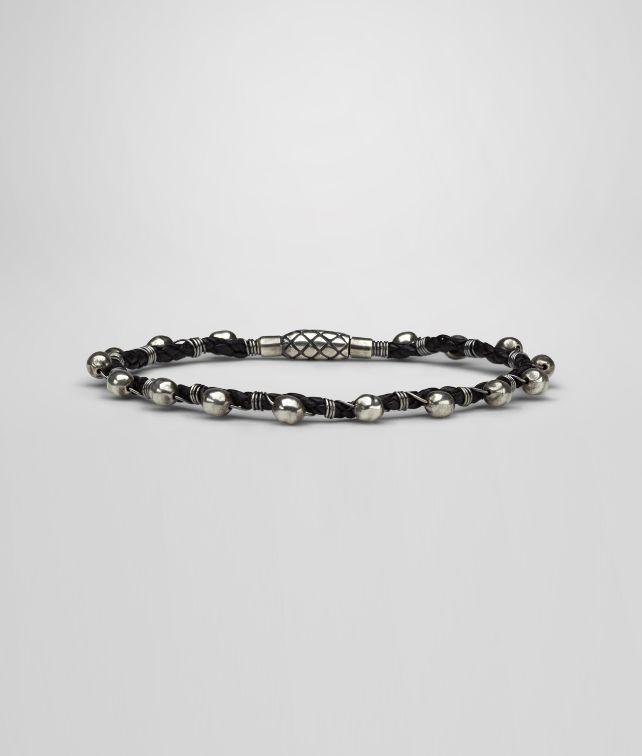 BOTTEGA VENETA Bracelet en nappa et argent oxydé intrecciato Bracelet U fp