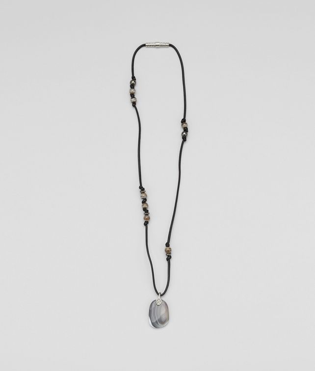 BOTTEGA VENETA Naturale Agata Oxydized Silver Nappa Neckalce Necklace U fp