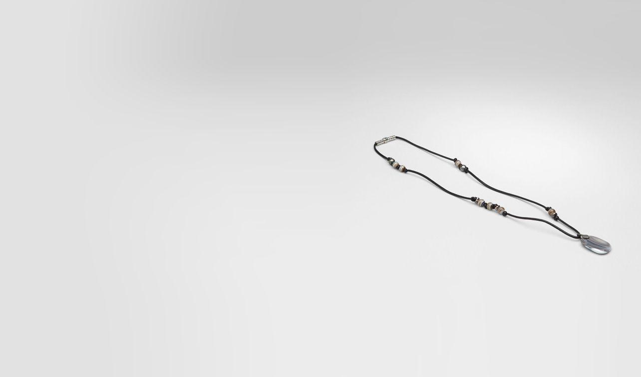 BOTTEGA VENETA Kette U Achat-Anhänger mit oxidiertem Silber und Nappaleder Natural Nero pl