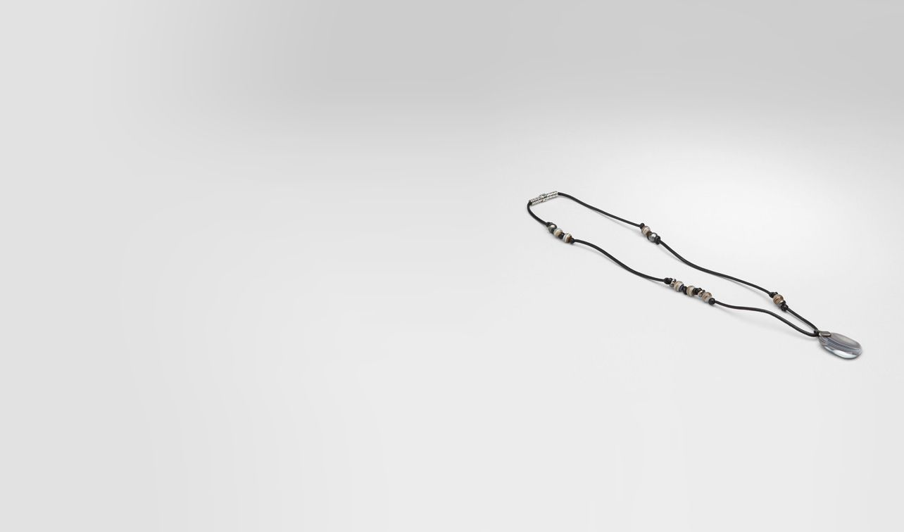 BOTTEGA VENETA Necklace U Naturale Agata Oxydized Silver Nappa Neckalce pl