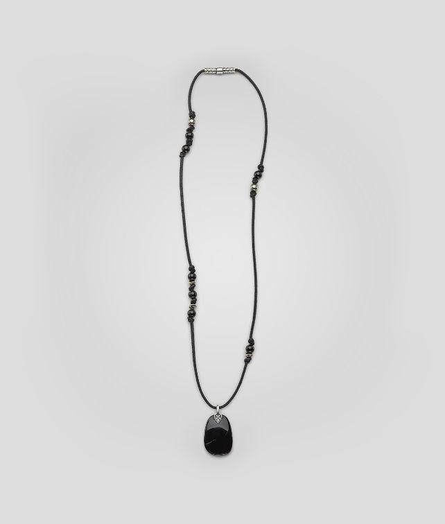 BOTTEGA VENETA Naturale Nero Onice Oxydized Silver Nappa Pendant Necklace U fp