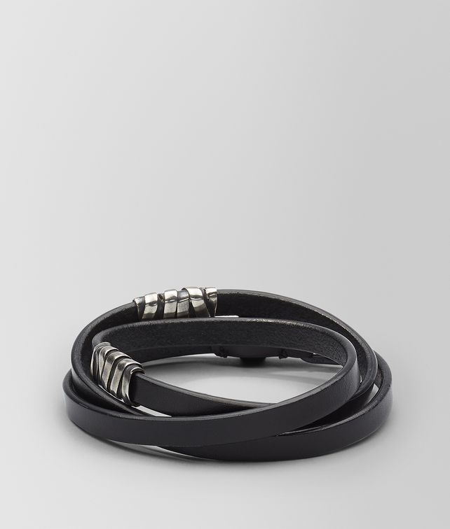 BOTTEGA VENETA BRACELET IN NERO CALF AND SILVER Bracelet U fp