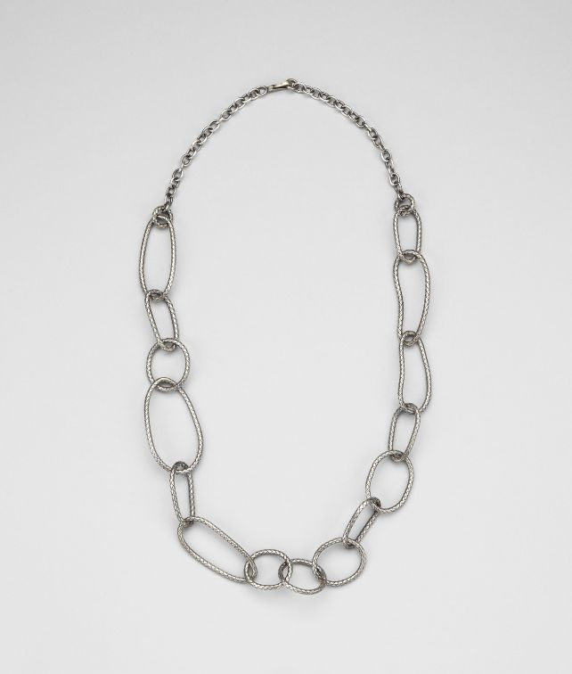 BOTTEGA VENETA Intrecciato Antique Silver Necklace Necklace D fp
