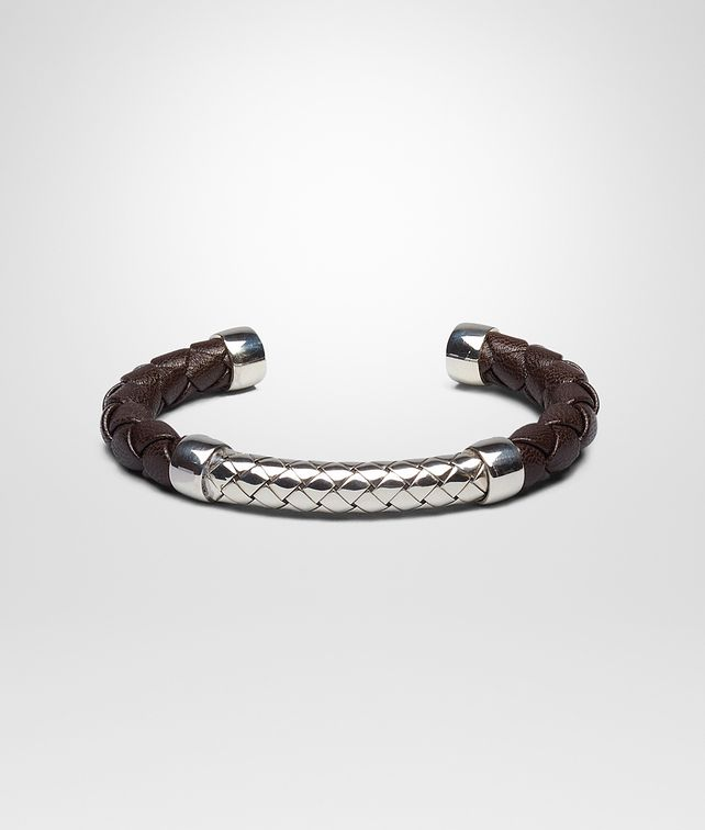 BOTTEGA VENETA BRACELET IN EBANO INTRECCIATO NAPPA AND SILVER Bracelet U fp