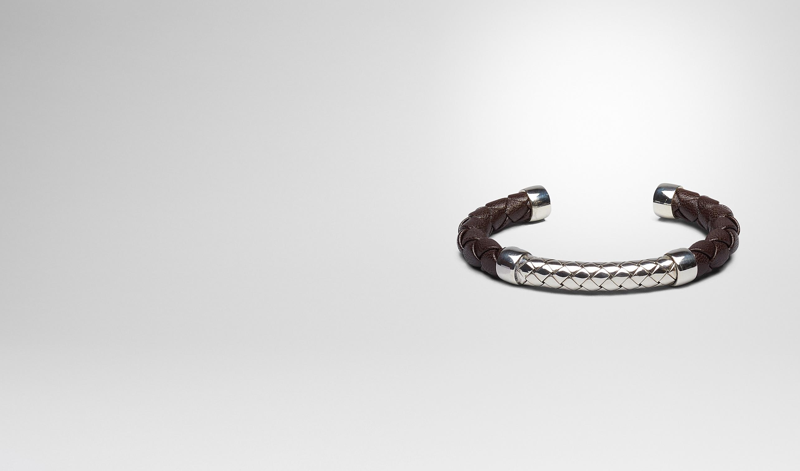BOTTEGA VENETA Bracelet U BRACELET EN INTRECCIATO NAPPA EBANO ET ARGENT pl
