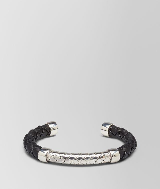 BOTTEGA VENETA BRACELET IN NERO INTRECCIATO NAPPA AND SILVER Bracelet Man fp