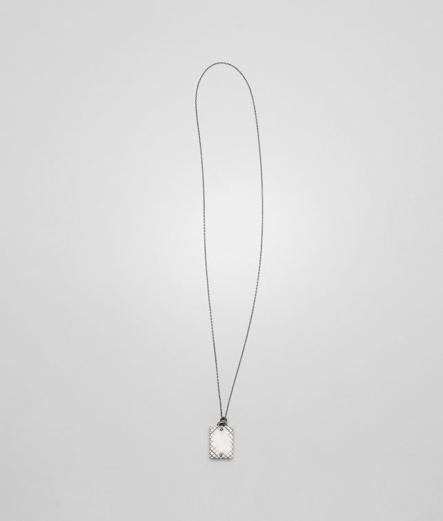 BOTTEGA VENETA Intrecciato Oxydized Silver Pendant Necklace U fp