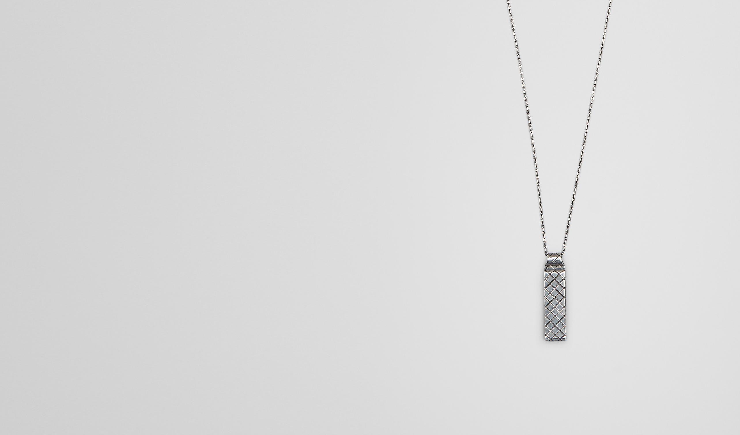 BOTTEGA VENETA Necklace and Ring U PENDANT IN SILVER pl
