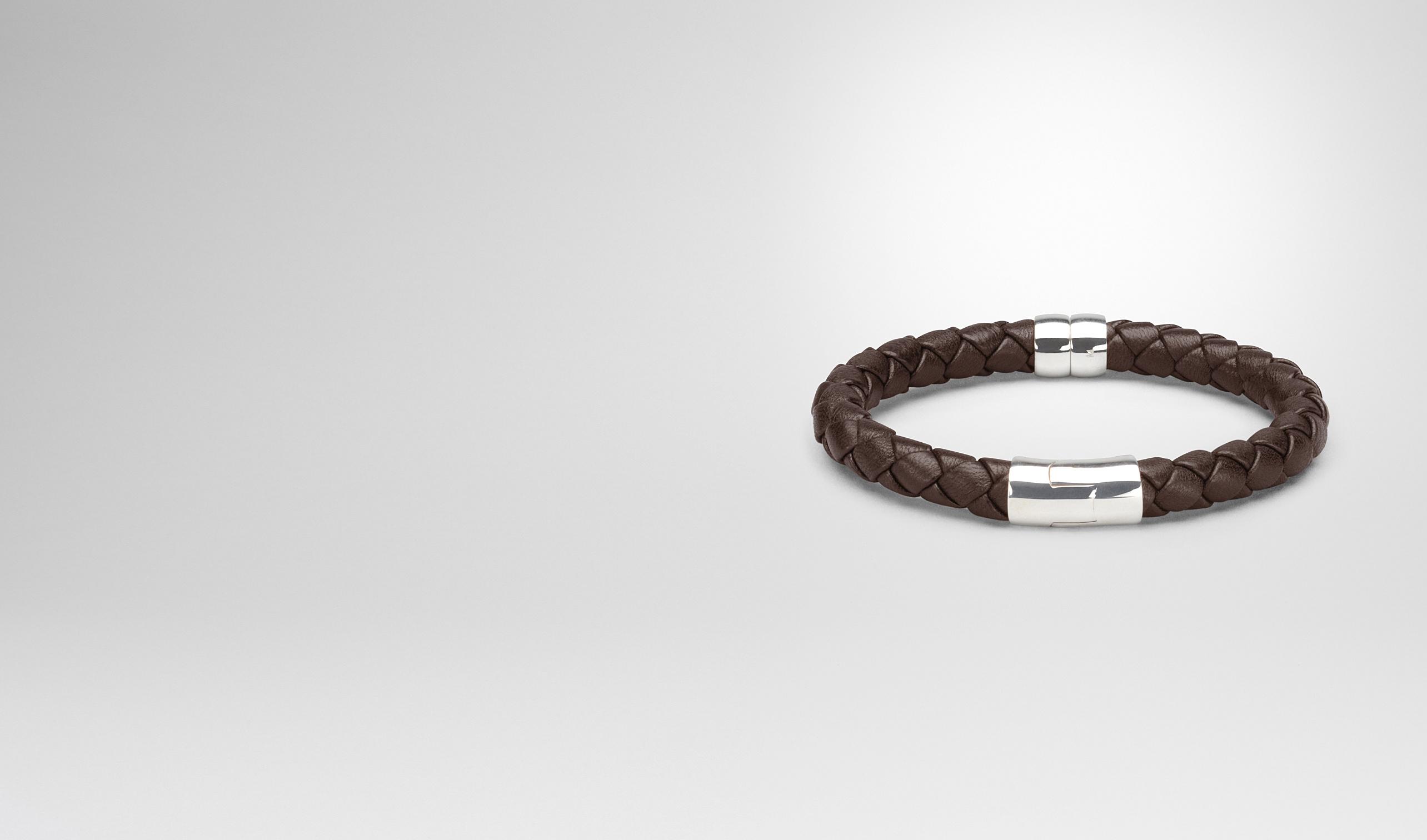 BOTTEGA VENETA Armband U Armband aus SILBER ANTIQUE und Nappaleder Intrecciato Ebano pl