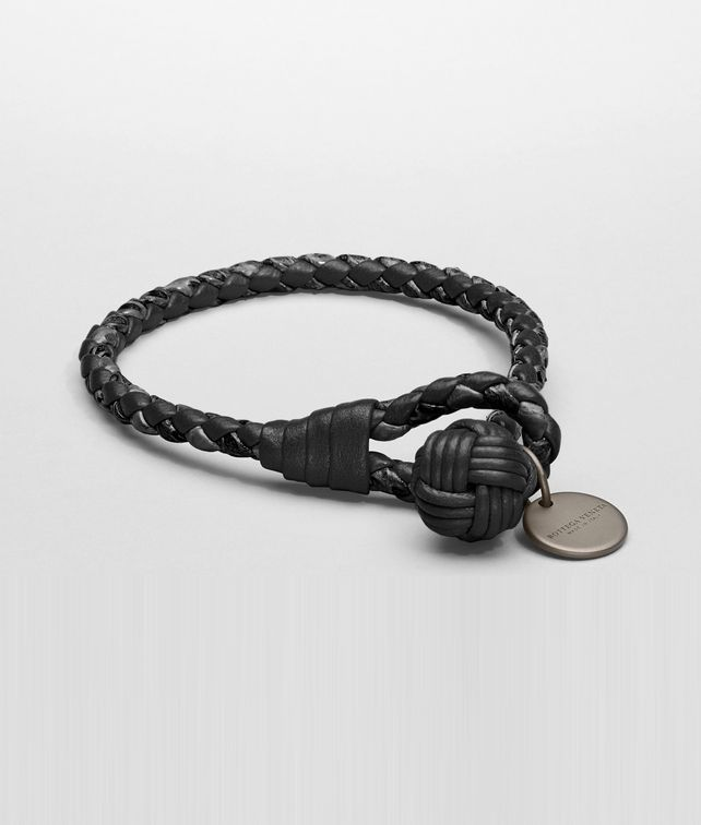 black leather veneta woven bracelet intrecciato bottega product