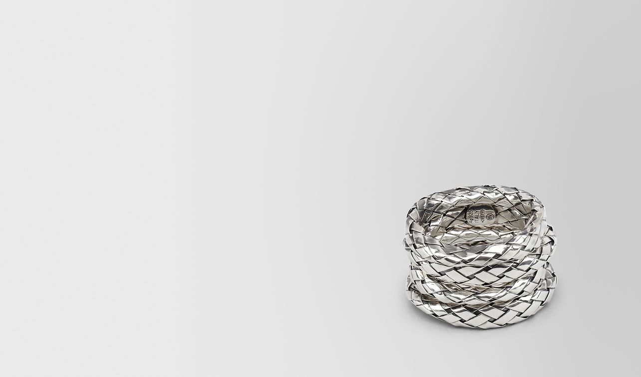 Bottega Veneta Rings In Intrecciato Silver