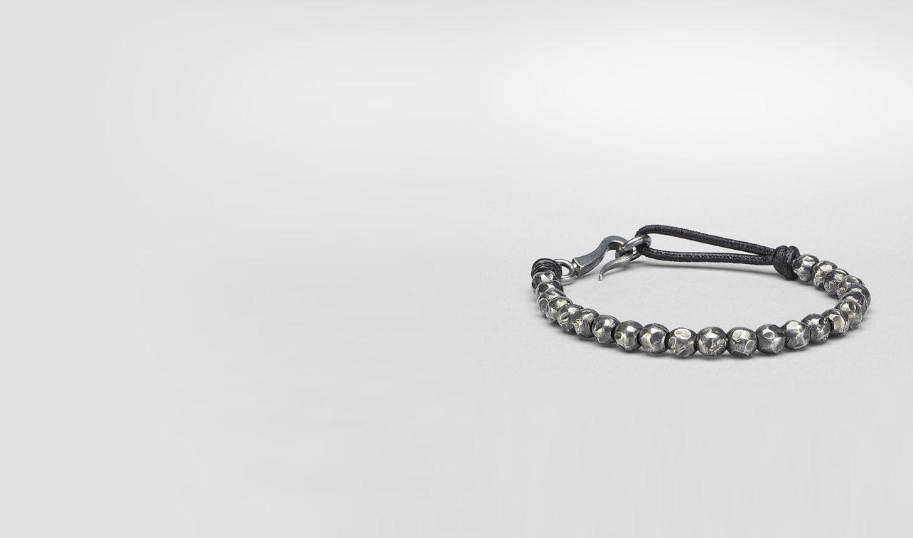 BOTTEGA VENETA Bracelet U Nero Oxydized Silver Nappa Bracelet pl