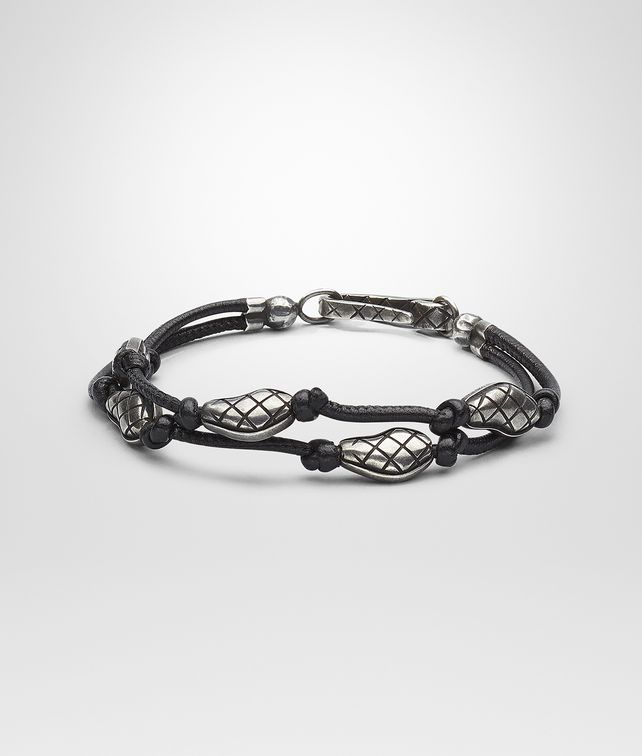 BOTTEGA VENETA BRACELET IN NERO NAPPA AND SILVER  Bracelet U fp