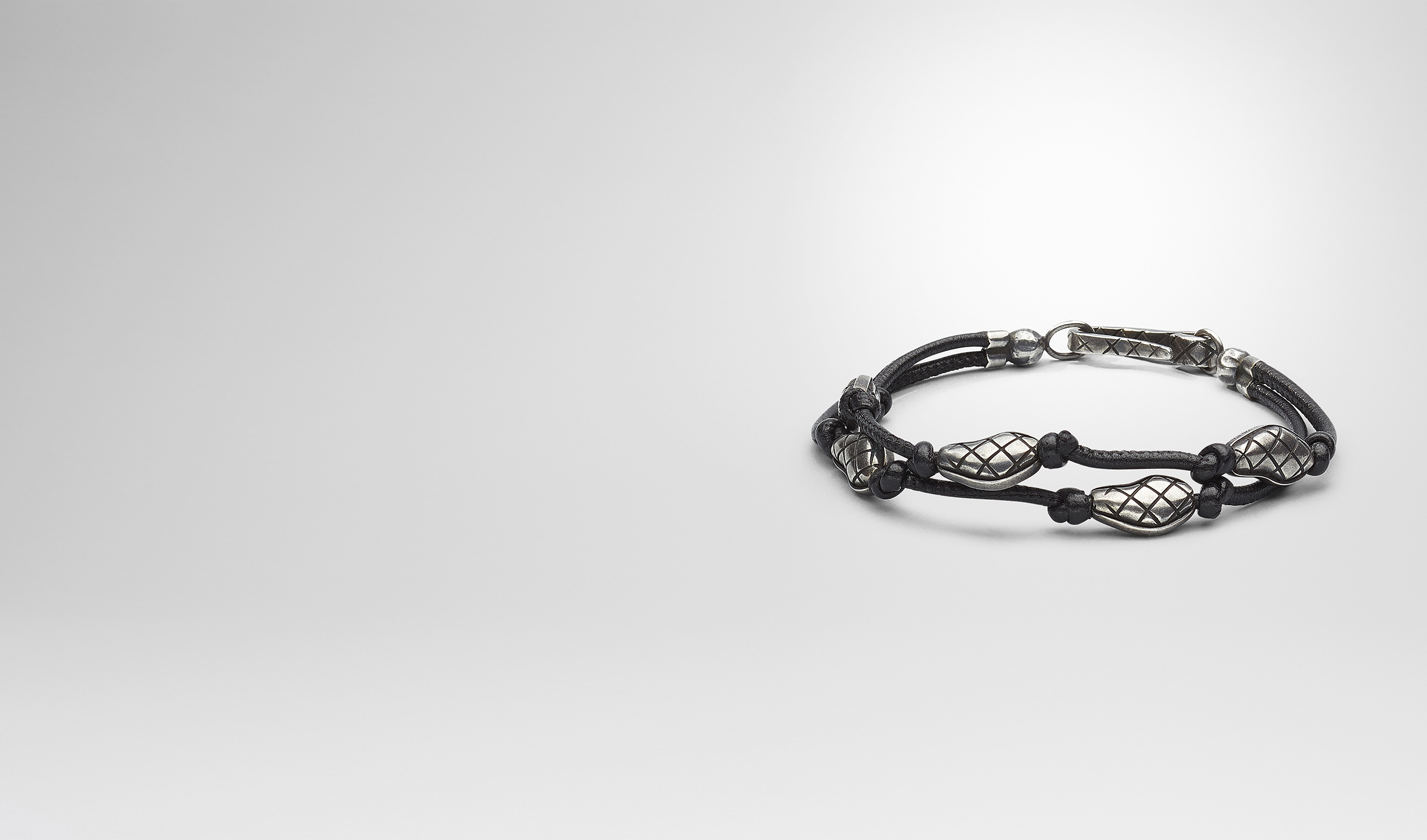 BOTTEGA VENETA Bracelet U BRACELET IN NERO NAPPA AND SILVER  pl