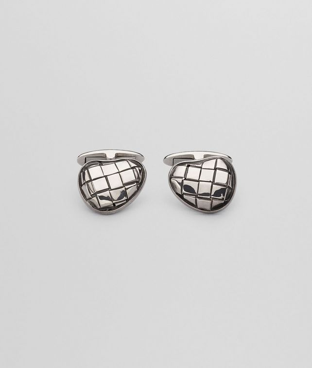 BOTTEGA VENETA CUFFLINKS IN INTRECCIATO SILVER Other Jewellery Man fp