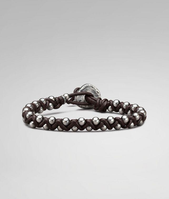 BOTTEGA VENETA BRACELET IN EBANO NAPPA AND SILVER Bracelet U fp