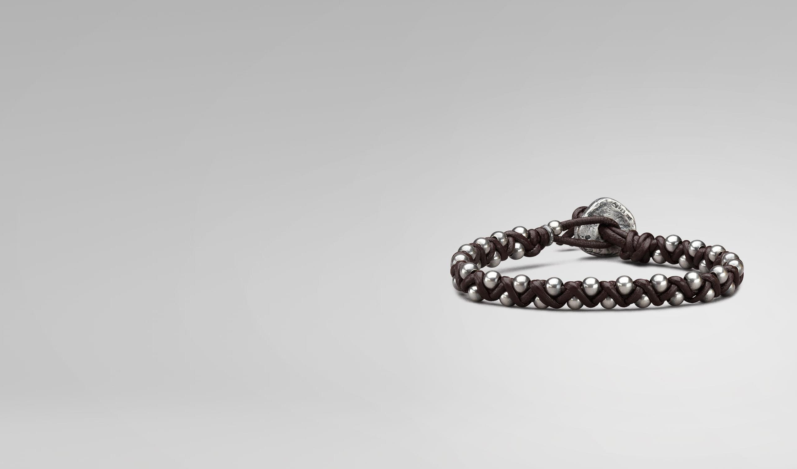 BOTTEGA VENETA Bracelet U BRACELET IN EBANO NAPPA AND SILVER pl